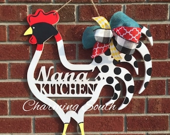 Wooden Kitchen Rooster Decor, Door Hanger