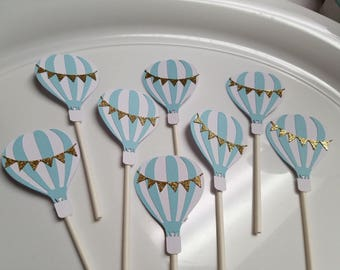 Hot air balloon cupcake toppers,  Hot air balloon baby shower,  Hot air balloon decorations, hot air balloon party, hot air balloon birthday