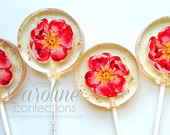Mothers Day Gift, Flower Lollipops, Garden Party, Flower Party, Pink Flower, Sparkle Lollipops, Sweet Caroline Confections-6/Set