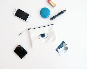 Evil Eye Pouch - Mom Boho Gift - Evil Eye Bag - Mobile Pouch - Gifts for Mum - Make Up Bag - Mini Clutch Bag - Hand Embroidered Pochette