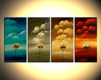 Landscape Painting Four Seasons Art Tree Painting on Canvas - Original fine art by Osnat - MADE-TO-ORDER