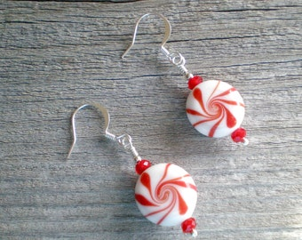 HOLIDAY SALE Peppermint Candy Earrings