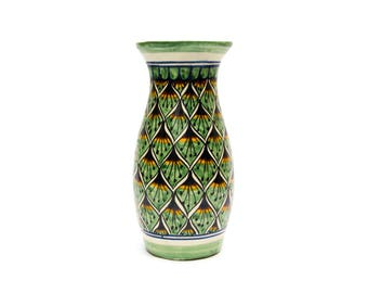 "Large 14"" Talavera Mexican Puebla Pottery Signed Vase"