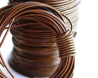1.5mm Round Brown Natural Leather cord - Hazelnut Brown - 10 feet, LC033