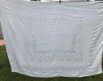 Vintage Pale Blue Damask Tablecloth