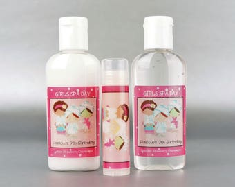 Persoanlized. Girls Spa Day set. 1oz lotion/sanitizer/lip balm