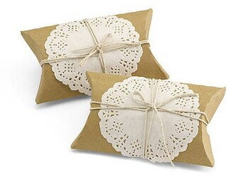 Rustic Kraft Pillow Favor Box Kit Wedding Favor Boxes (Pack of 12) Country Wedding