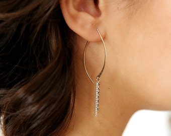 Chained Leaf Hoops - Gold Hoop Earrings - Silver Hoop Earrings - Gold Hoops - Unique Hoop Earrings - Chain Earrings