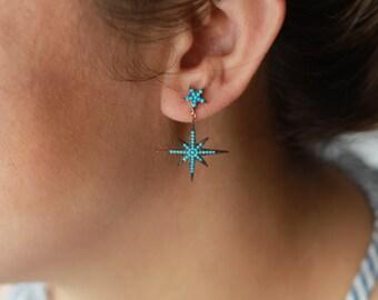 Turquoise Star Earrings / North Star Earrings / Polaris Earring / Pair