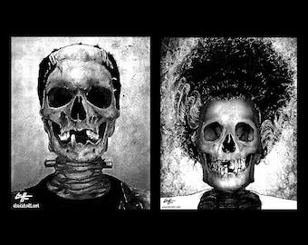 "Prints 8x10"" - The Monster and Bride - Frankenstein Dark Art Skull Skeleton Horror Halloween Classic Monsters Gothic Dracula Macabre Zombie"