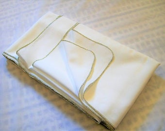 Vintage White Tablecloth with Silver Edges, Large Tablecloth, Vintage Kitchen, Fancy tablecloth, New Years Linens