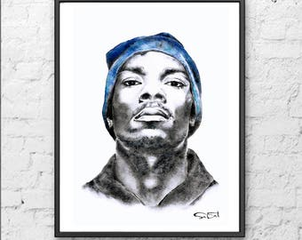Snoop Dogg print, snoop dogg painting, rapper print, snoop dogg art, gangsta rapper.