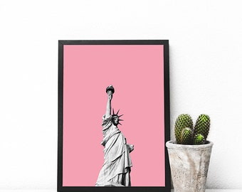 Statue of Liberty on Pink  Print Your Own Instant Download Art Print Wall Art  Poster Home Decor Wall Art Printable Instant Download