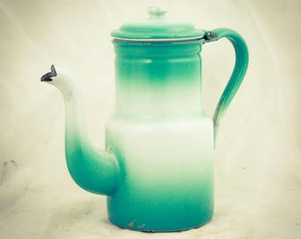 French Coffee Pot Cafetiere Enamelware Koffiepot Emaille France Enamel Emaillee Coffee maker
