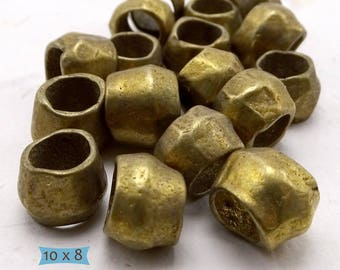 Rustic Large Hole Handmade Brass Beads--10 Pcs | 20-BR5011-10
