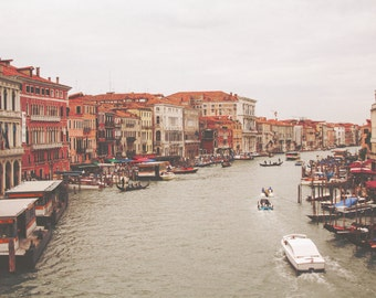 Venice Italy Photo - Grand Canal From Rialto Bridge - Lively Grand Canal - Travel Photography Print, Venice Photo, Italy Photo, Wall Art