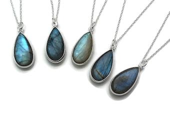 Labradorite Necklace in Sterling Silver, Labradorite pendant, Blue labradorite, Gemstone necklace