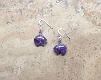 Zuni Fetish style Amethyst Bear Earrings, beaded with Sterling Silver (Available in 2 sizes)
