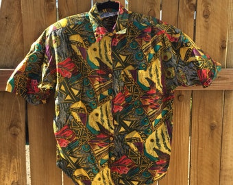 Awesome Vintage Button Up Crazy Print Shirt By Andrew Sports Studio