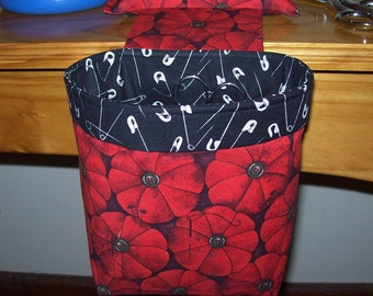Last one!  Thread Catcher, Scrap Caddy, Scrap Bag, Pin Cushion With Rubberized Gripper Strip - Red Pincushions - Sewing Helpers
