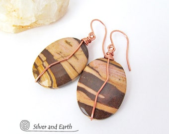 SALE: Brown Zebra Jasper Earrings, Natural Stone Jewelry, Brown Stone Earrings, Jasper Jewelry, Wire Wrapped Stone, Jewelry Sale Earrings