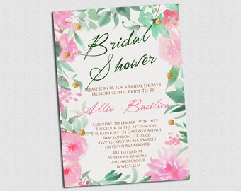 Floral Watercolor Bridal Shower Invitation - PRINTABLE