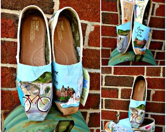 Bride's Love Story Shoes Wedding Flats Colorful Wedding TOMS Honeymoon Shoes Memories California Wedding Honeymoon Shoes Gift for the Bride