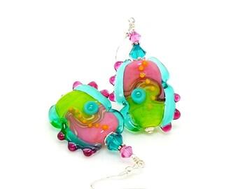 Pink Blue Green Earrings, Abstract Earrings, Lampwork Earrings, Glass Earrings, Glass Bead Earrings, Unique Earrings, Glass Art Earrings