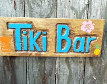 Tiki Bar Sign -- Handmade Tiki Bar Sign, hand carved sign in blue