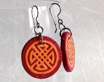 Red Orange Round Hanji Paper Earrings Geometric Circular Design Orange Red Dangle Earrings Hypoallergenic hooks Lightweight