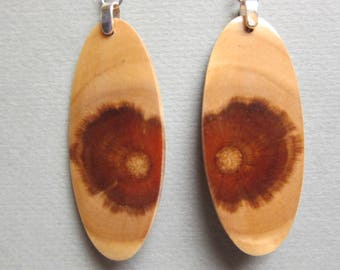 Unique Monkey Puzzle,  Exotic Wood Earrings, Oval Handcrafted ExoticWoodJewelryAnd Hypoallergenic wires