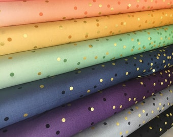 Ombre Confetti fabric by Vanessa Christenson, Gold Metallic Decor, Wedding fabric, Quilting, A Bundle of 8 fabrics, Choose the Cuts