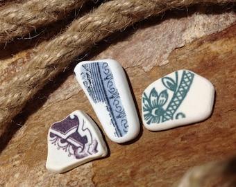 Pattern Sea Ceramic For Jewelry Making Rare Beach Ceramic Tiny Pieces Vintage Sea Pottery Soviet Pottery Pieces Collectible Sea Ceramic