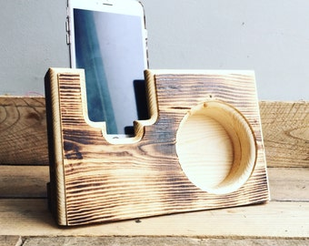 Acoustic Reclaimed Pallet Wood iPhone Smartphone Galaxy Mobile Device Speaker Amplifier Gift