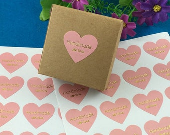 Handmade with Love Sticker - Pink and Gold Sticker - Real Gold Foil Sticker - Pink Heart Sticker, Set of 16