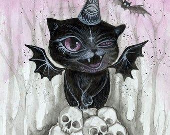The Vampurrr Bat - original artwork, watercolor drawing, small painting, small art, watercolor painting, animal art, vampire, halloween art