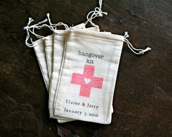 Personalized Hangover Kit favor bags, set of 25 cloth bags, DIY kit, bachelor party, bachelorette party, hotel welcome bags, hand stamped