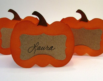 Pumpkin Place Cards, Rustic Wedding Place Cards, Thanksgiving Place Cards, Lil Pumpkin Baby Shower, Food Place Cards, Fall Buffet Cards