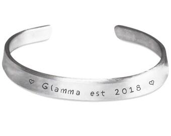 Glamma Gift - Glamma To Be - Keepsake Bracelet - Handstamped Aluminum Cuff - New Grandma Bracelet - Grandma Baby Reveal - Glamma Jewelry