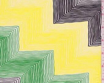 Yellow/Green/Black Chevron Crepe de Chine, Fabric By The Yard