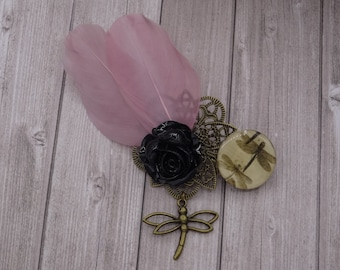 Pink Dragonfly and black rose feather hair clip