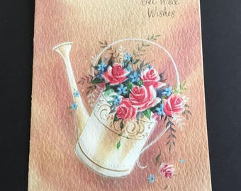 Vintage ( Unused) Get Well Greeting Card, water Can filled with flowers, sunshine