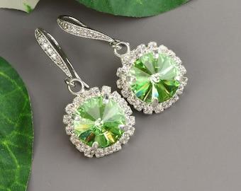Peridot Earrings Swarovski Crystal Drop Earrings Green Bridal Earrings Bridesmaid Jewelry Silver Bridesmaid Earrings Green Wedding Jewelry