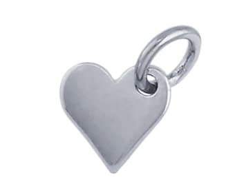 Sterling Silver Flat Heart Charm