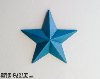 """LAGOON Handpainted Distressed Cast Iron Texas Star Wall Hanging - 7.5"""" Metal Star Wall Decor - Patriotic Nautical Rustic Country Home Decor"""
