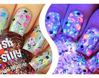 TGIF (neon):  Custom-Blended NEON Glitter Nail Polish / Lacquer/ indie polish