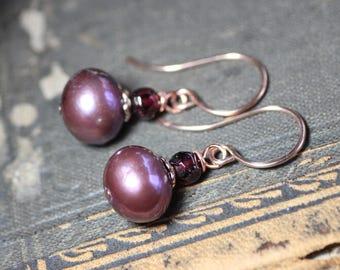 Pink Pearl Earrings Rose Gold Mauve Freshwater Pearl Garnet Earrings