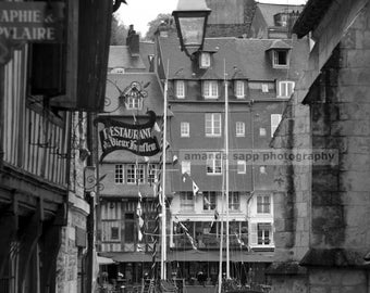 Honfleur boats Honfleur France black and white