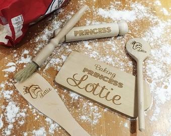 Personalised baking princess set wooden engraved - cooking