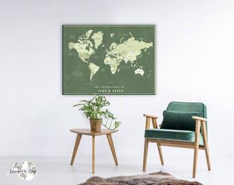 World map push pin / World map canvas / Personalized World Map / Push Pin map / Travel map